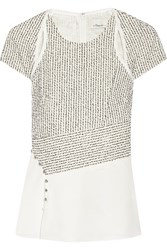 3.1 Phillip Lim Boucle And Silk Crepe De Chine Top Ivory