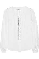 Milly Embellished Stretch Silk Blouse