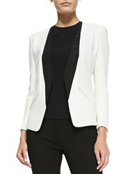 Narciso Rodriguez Collarless Blazer With Silk Inserts White Black