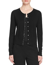 Magaschoni Embellished Placket Silk Cashmere Cardigan Black