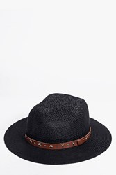 Boohoo Star Stud Belt Straw Fedora Black