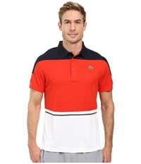 Lacoste T2 Short Sleeve Color Block Ultra Dry Navy Blue Corrida White Men's Clothing Orange