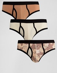 Asos Briefs With Camo Print 3 Pack Multi