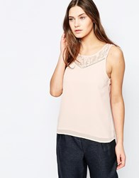 Vila Sleeveless Top With Lace Detail Pink