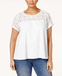 Styleandco. Style And Co. Plus Size Lace Yoke T Shirt Only At Macy's Bright White