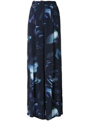 Bianca Spender Antique Rose Print Palazzo Trousers Black