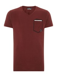 Duck And Cover Hopkin Short Sleeve V Neck T Shirt Red