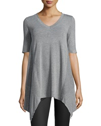 Neiman Marcus V Neck Arched Hem Tee Heather Gray