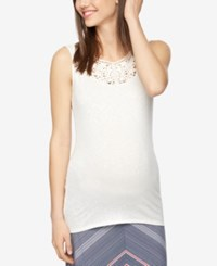 A Pea In The Pod Maternity Crochet Trim Tank Top Egret