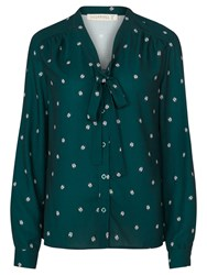 Sugarhill Boutique Bruna Ladybird Print Pussybow Blouse Green