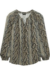 Tom Ford Snake Print Silk Georgette Blouse Gray Snake Print