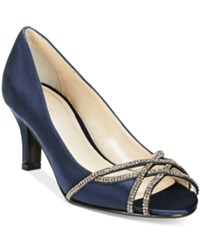Caparros Eliza Peep Toe Evening Pumps Women's Shoes Navy Satin