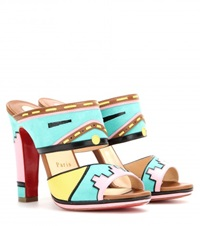 Christian Louboutin Azunika Suede And Leather Mules Multicoloured
