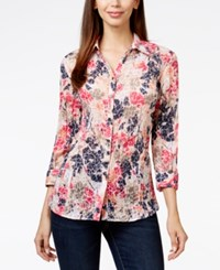Jm Collection Printed Point Collar Button Front Shirt Only At Macy's Pink Floral