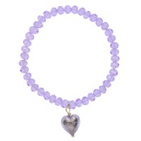 Martick Faceted Crystal Murano Heart Bracelet Lilac