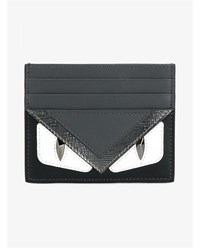 Fendi Monster Eyes Leather Cardholder Grey Black White