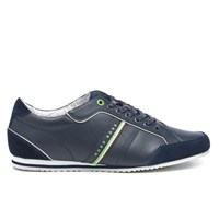 Hugo Boss Green Men's Victoire La Leather Trainers Dark Blue