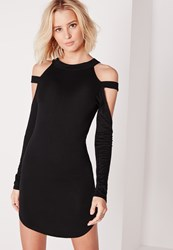 Missguided Cage Shoulder Curve Hem Bodycon Dress Black Black
