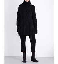 Ann Demeulemeester Turtleneck Chunky Knit Silk And Alpaca Blend Jumper Black