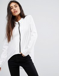 Noisy May Zip Front Shirt With High Low Hem Black White Multi
