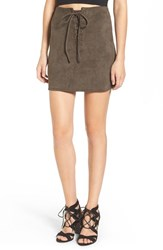 Leith Women's Faux Suede Lace Up Miniskirt Olive Sarma