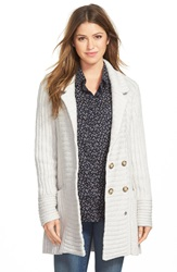 Lucky Brand Ribbed Sweater Coat Light Heather Grey