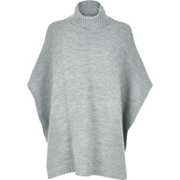 River Island Womens Grey Ribbed Knitted Poncho