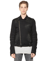 Pierre Balmain Stretch Cotton Denim Moto Jacket Black
