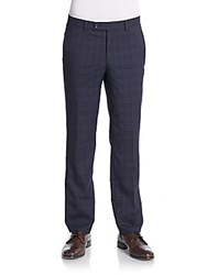 Saks Fifth Avenue Checkered Wool Straight Leg Trousers Navy