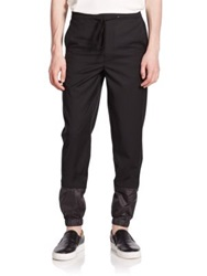 3.1 Phillip Lim Tapered Faux Leather Cuffs Fleece Sweatpants Black