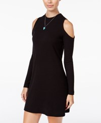 Planet Gold Juniors' Rib Knit Cold Shoulder Dress Black