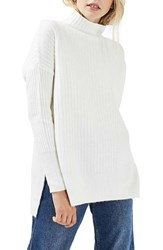Topshop Women's Oversized Funnel Neck Sweater Cream