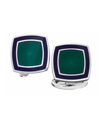Jan Leslie Square Sunburst Cuff Links Green Navy