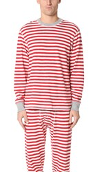 Sleepy Jones Keith Rugby Stripe Thermal Shirt Red