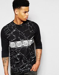 Pink Dolphin 3 4 Sleeve T Shirt In Marble Print With Raglan Sleeves Black