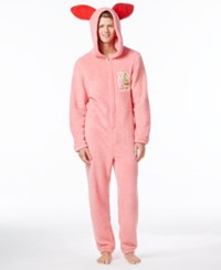 Briefly Stated Men's Ralphie's Bunny Suit Hooded Jumpsuit Pajamas Pink