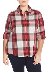 Foxcroft 'Christmas Tartan' Plaid Shirt Plus Size Red Multi