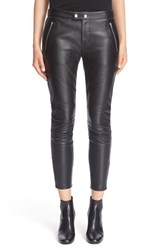 Saint Laurent Women's Lambskin Leather Leggings Black