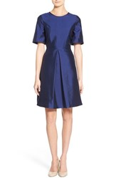 Women's Pink Tartan Kimono Sleeve Fit And Flare Dress Royal Blue