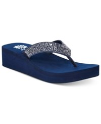 Yellow Box Africa Rhinestone Platform Wedge Thong Sandals Women's Shoes Navy