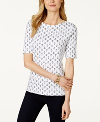 Charter Club Petite Elbow Sleeve Anchor Print T Shirt Only At Macy's Bright White