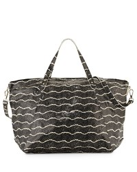 Lauren Merkin Nina Snake Embossed Zip Tote Bag Black Crea