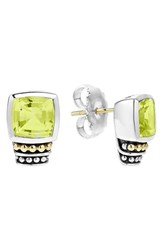 Lagos Women's 'Caviar Color' Semiprecious Stone Stud Earrings Green Quartz