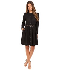 The Kooples Embroidered Cotton Long Sleeve Dress Black Women's Dress