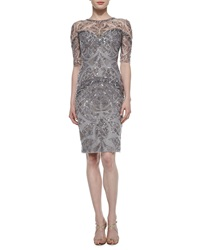 Monique Lhuillier Sequin Embroidered Sheer Inset Sheath Dress