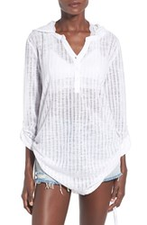 Women's Billabong 'Lovechild' Hooded Cover Up Top White