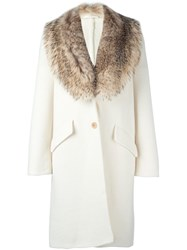 Ermanno Scervino Fur Collar Coat White