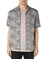 Allsaints Hydrangea Short Sleeve Slim Fit Button Down Shirt Gray