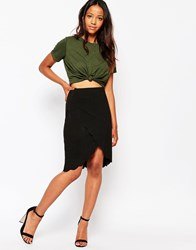 Daisy Street Wrap Skirt With Scallop Hem Black