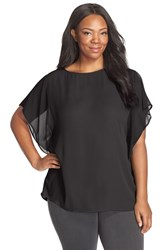 Plus Size Women's Sejour Sheer Flutter Sleeve Blouse